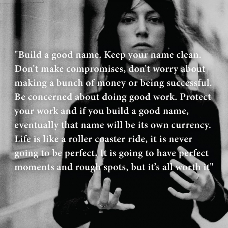 Patty Smith zegt: build a good name. Traject Blikopener.